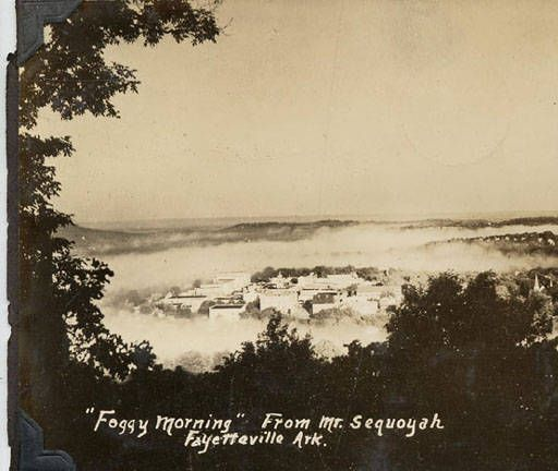 Foggy morning from Mt. Sequoyah :: Shared History: Fayetteville and the University of Arkansas