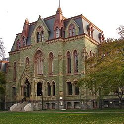 College Hall is the oldest building on the West Philadelphia campus of the University of Pennsylvania. Prior to its construction, the university was located on Ninth Street in Center City, Philadelphia. The building was designed by Thomas Webb Richards and completed in 1873. The characteristic green color of the building is due to its composition of green serpentine stone.