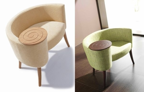 chair with side table... get these in red and they will go great in our living room! Plus, I imagined coffee cups and a book on the table.