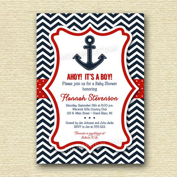Ships Ahoy Chevron Anchor Baby Shower  Sail  by MommiesInk on Etsy, $14.00