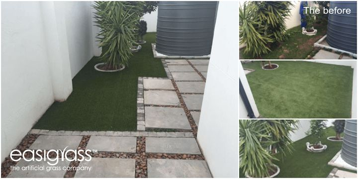 Let's draw some inspiration from this transformed water tank area. No reason for your water storage area to be an eyesore. Continue on the water saving path and install. It will look great and save you money time - and water. #MondayMotivation #artificialgrass It is also World Monitoring Day which emphasises the need to test the local #waterquality on a regular basis. sales@easigrass.co.za 27 (0) 87 351 0129