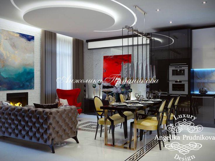 Эклектичный интерьер гостиной в стиле Модерн. Лимонно-желтые стулья в классическом стиле, знаменитое кресло-яйцо Арне Якобсена в красном цвете, коричневый кожаный диван в стиле честерфилд и абстрактная живопись на стенах. В результате получился смелый и яркий дизайн интерьера, с обилием интересных деталей, которые хочется рассматривать. #angelikaprudnikova #interiordesign #элитныйдизайн #дизайнгостиной #livingroominterior #эклектика #аркодисоль