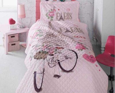 - Clasy Paris Love Tek Kişilik Yatak Örtüsü Seti V1 Pembe