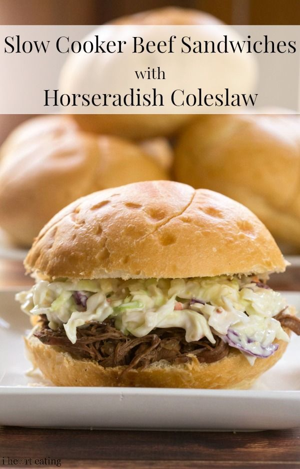 Beef sandwich, Slow cooker beef and Coleslaw on Pinterest