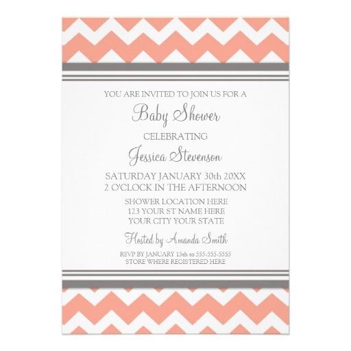 Coral Gray Chevron Custom Baby Shower Invitations