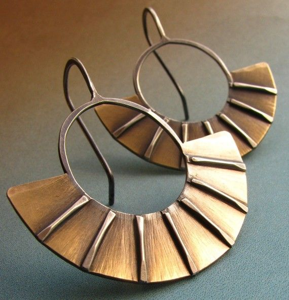 Modern Mixed Metal Earrings  Sterling Silver And Brass by Mocahete, $58.00