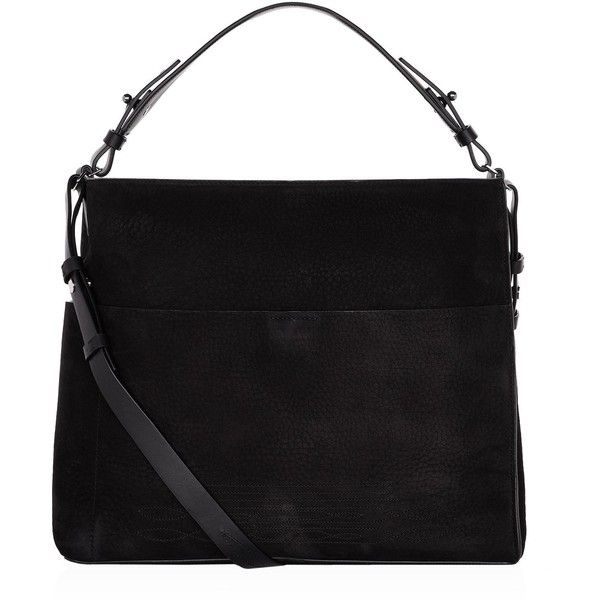 AllSaints Cooper Suede Tote Bag ($325) ❤ liked on Polyvore featuring bags, handbags, tote bags, suede leather handbags, suede handbags, tote bag purse, tote hand bags and allsaints