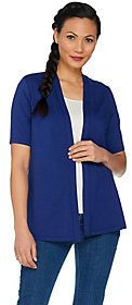 As Is Susan Graver Weekend Stretch Cotton Modal Open Front Cardigan