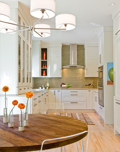 white cabinets & light floors