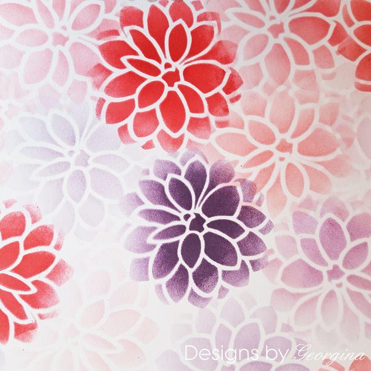 Pretty flower background created with my Designs by Georgina Mini Dahlia stencil and Distress inks.  http://www.designsbygeorgina.co.uk/product/mini-dahlia/