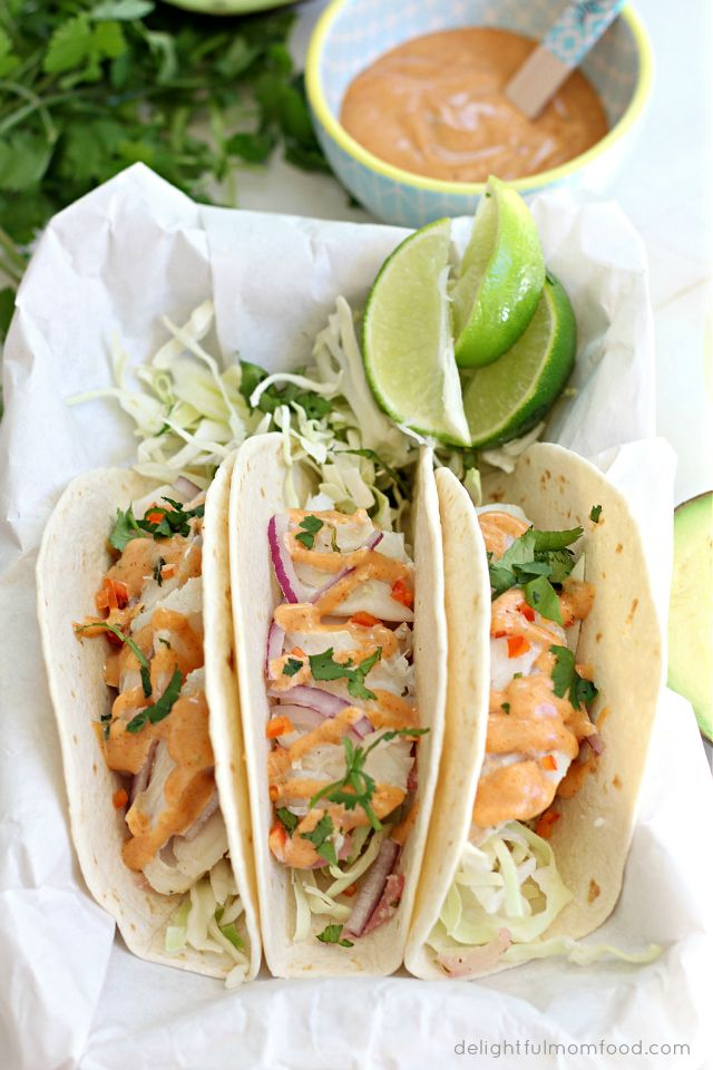 Cod Fish Tacos   Delightful Mom Food #glutenfree #healthytacorecipe