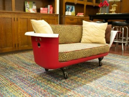 "Black Dog Salvage comes across vintage tubs often, like the one that Robert and Ted Ayers removed from a 78-year-old church in Salisburg, N.C. This ""Breakfast at Tiffany's"" couch was upcycled from a vintage bathtub."