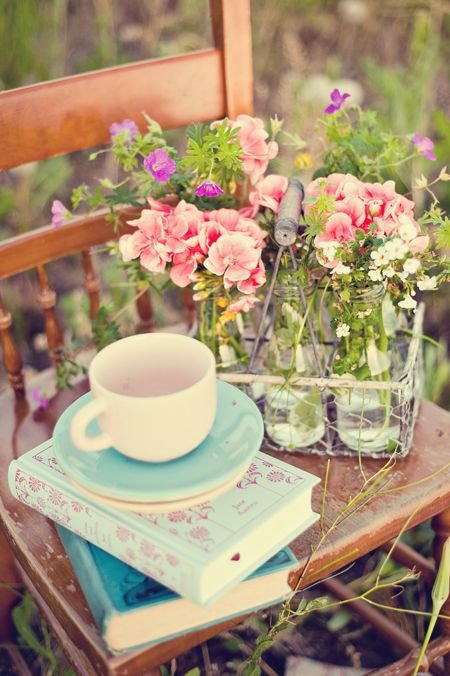 Books, tea and some flowers...love: Bottle Carriers, Tea Time, Flowers Love, Milk Bottles, Google Search, Book, Outdoor Spaces, Milk Carrier