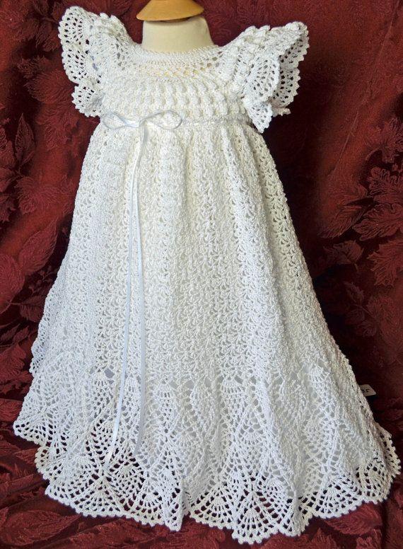 Bautizo blanco / bendición vestido con el Slip y el bonete  3