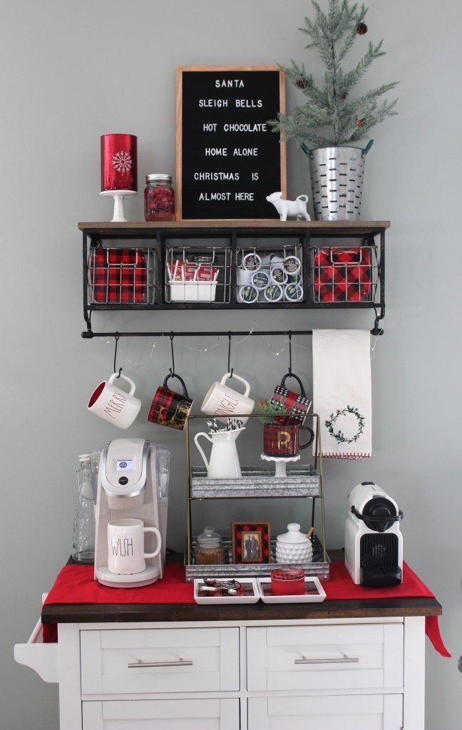 Home Alone Christmas, Christmas Coffee, Christmas Kitchen, Coffee Bar Station, Home Coffee Stations, Tea Station, Coffee Bars In Kitchen, Coffee Bar Home, Coffee Nook