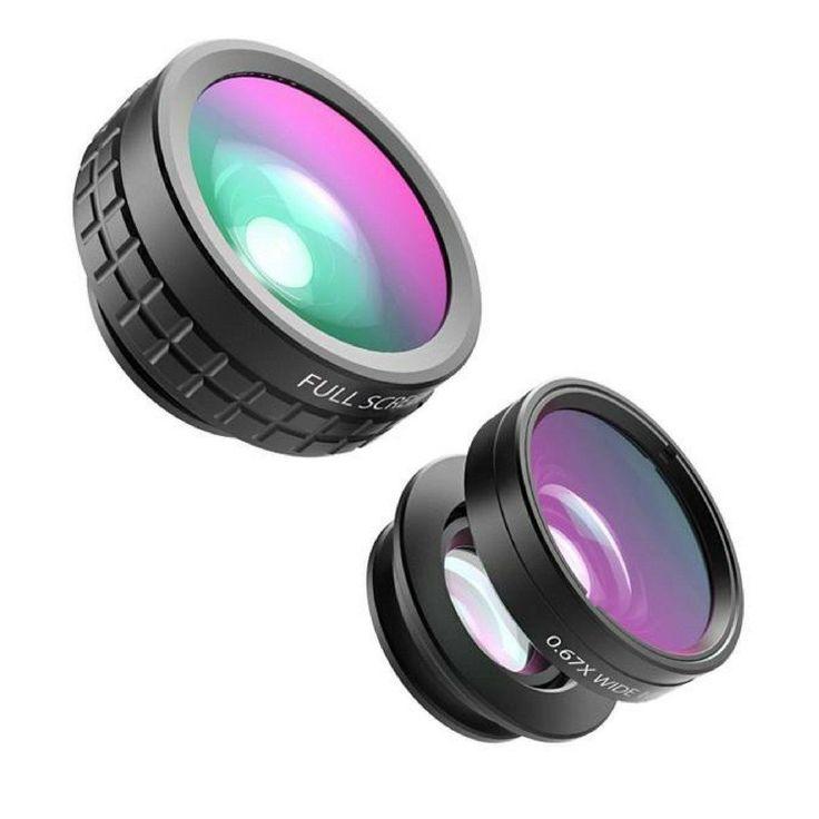 Optic Pro Phone Camera Lens Kit 180 Degree Fisheye Lens + 110 Degree Wide Angle + 10x Macro Lens