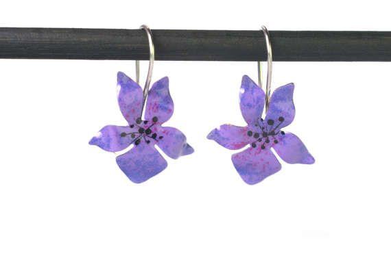 Viola Earrings  Flower Earrings Enamel Jewelry by CinkyLinky