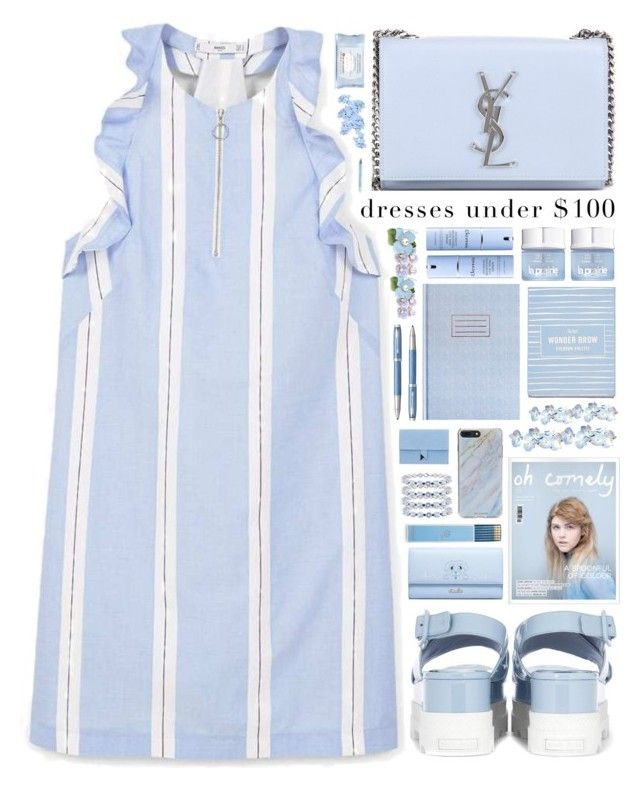 """Under $100: Summer Dresses""- Contest by ritaof on Polyvore featuring polyvore fashion style MANGO WithChic Yves Saint Laurent Dora Dolce&Gabbana Forever 21 La Prairie Elemis Parker Draper James First Aid Beauty clothing"
