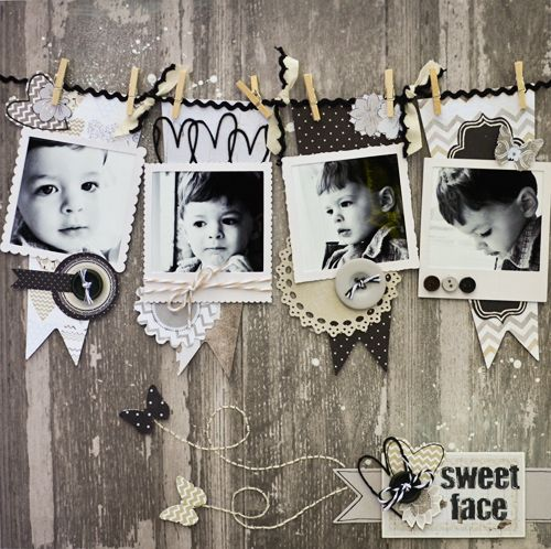 Layout: Sweet Face--This is cute. Making use of board-print paper. Love the clothespins!