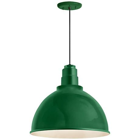 Adding that dash of color to your home is a breeze with Troy RLM's aluminum Deep Reflector industrial outdoor hanging light in hunter green.