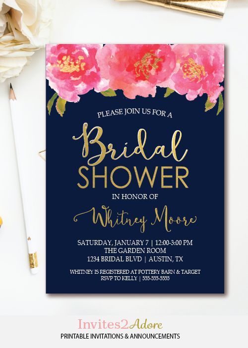 Floral Bridal Shower Invitation in navy with pink & gold watercolor florals. This wedding shower invitation is also available in chalkboard and light pink.