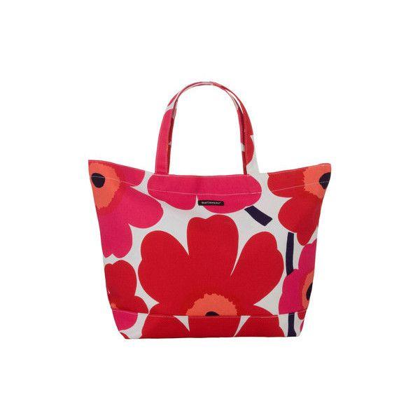 Marimekko - Pieni Unikko Bag ($87) ❤ liked on Polyvore featuring bags, handbags, accessories, marimekko bag, summer bags, beach purse, red beach bag and summer handbags