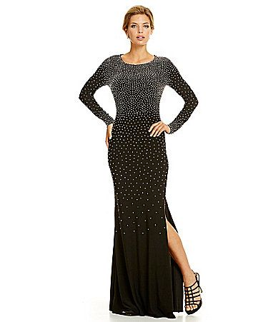Xscape LongSleeve Beaded Gown #Dillards