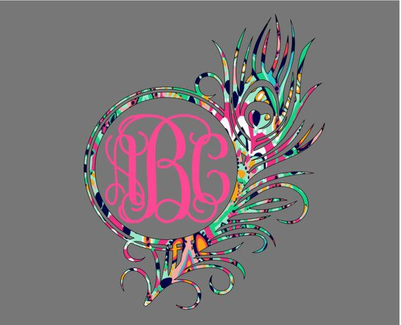 Patterned Peacock Feather Monogram Decal by DebbieDoodleDesigns
