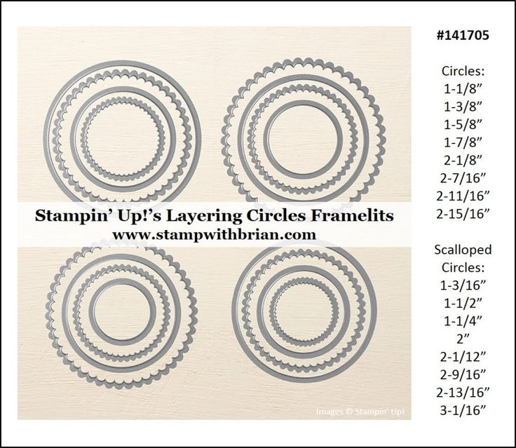 Measurements for Stampin' Up!'s Layering Circles Framelits, Brian King