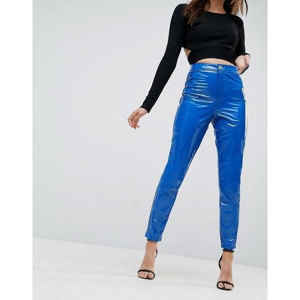 ASOS RIVINGTON High Waisted Denim Jeggings in Vinyl Effect in Cobalt... ($46) ❤ liked on Polyvore featuring pants, leggings, blue, denim leggings, blue leggings, high waisted leggings, high-rise leggings and high waisted shiny leggings
