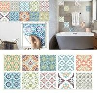 Wish | 10-Pack Mediterranean DIY Waterproof & Oil-proof Tile Stickers Tile Decals for Bathroom & Kitchen Wall Sticker Home Decor 8 X 8 Inch