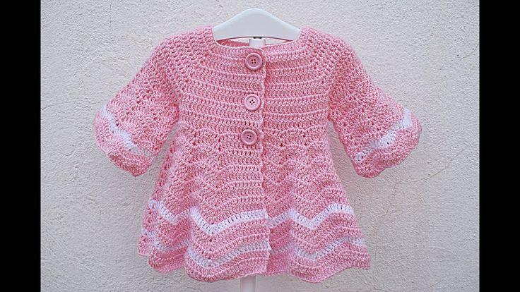 Abrigo a crochet para niña capeado  muy fácil
