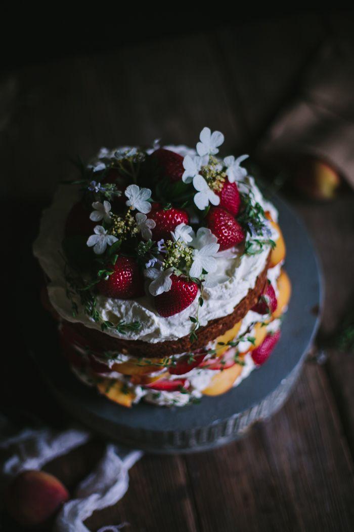 Peach, Strawberry, & Buttermilk Cake by Eva Kosmas Flores | Adventures in Cooking