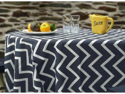 Nappe carrée 100% coton enduit motif zigzag blanc 160x160cm CHEVRONS