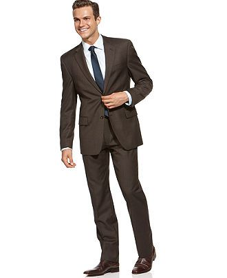 Alfani RED Suit Separates, Brown Taupe Weave Slim Fit - Mens Suits & Suit Separates - Macys brown and blue - tie will be more teal than blue, can he wear a suit if everyone else is in tuxes?