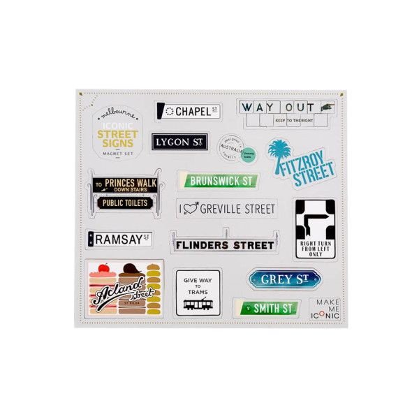 Spruce up your fridge with our Melbourne iconic street signs magnet set. Or create handy reminders, shopping lists and fun messages by using magnets to hold
