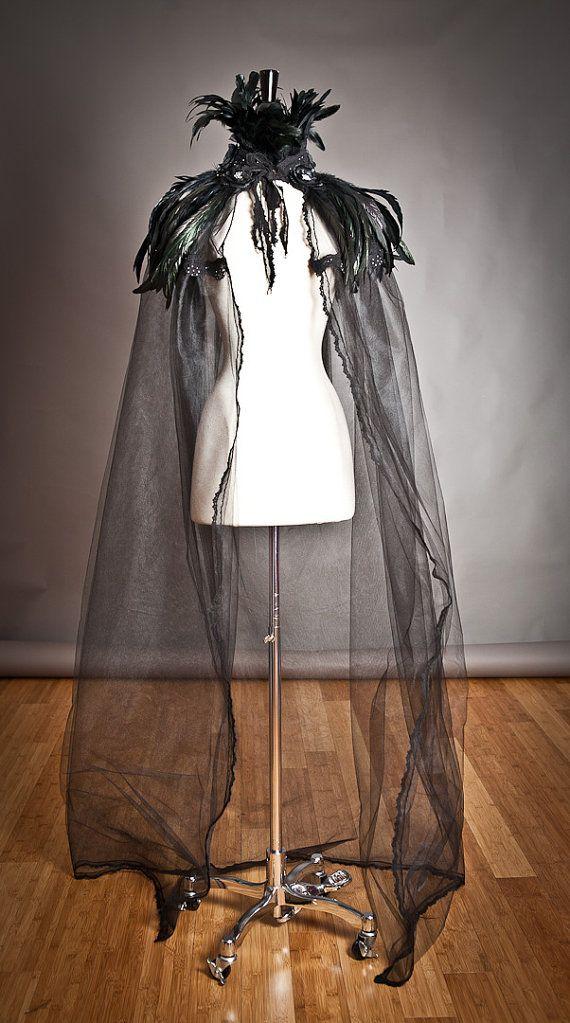 Black cape, high raven feather collar, black rose trim