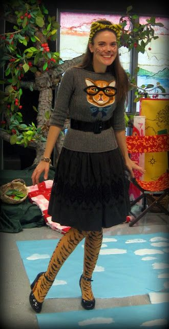 cat costume with DIY sweater
