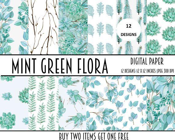 digital paper papers mint floral collage sheet digital