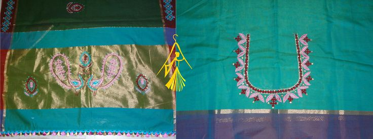 Bottle Green Handloom Cotton Saree with delicate kutchwork (handmade) Blouse: Light Peacock blue Cotton material with hand embroidery on neck (back)  Is it too hot to wear silk sarees in this hot summer? We bring you cooler cotton with rich hand embroidery. Synonym for Elegance!! Contact: info@anviti.com