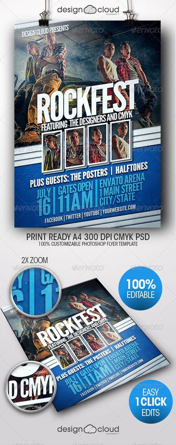 Photoshop poster design youtube - Rock Fest Grunge Flyer Poster Template