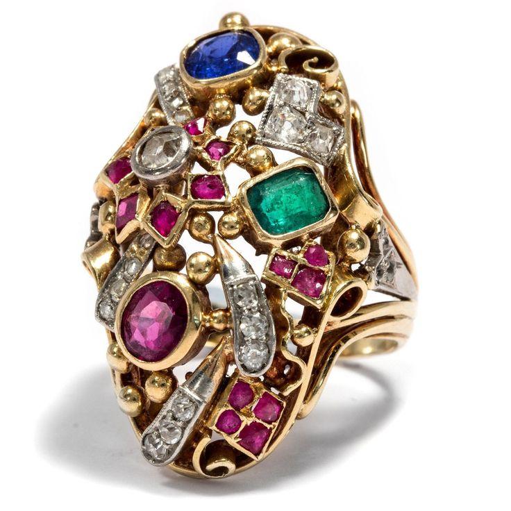 Um 1950: Großer 750 Gold RING mit Saphir, Smaragd, Rubin & Diamanten, Gemüsering | eBay