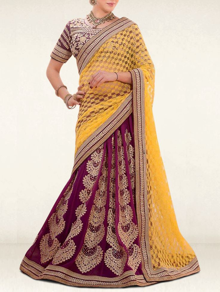 Surround yourself with endless compliments with this sunny yellow and purple gerogette with net designer lehenga saree. It's perfect for bridal, party and wedding.