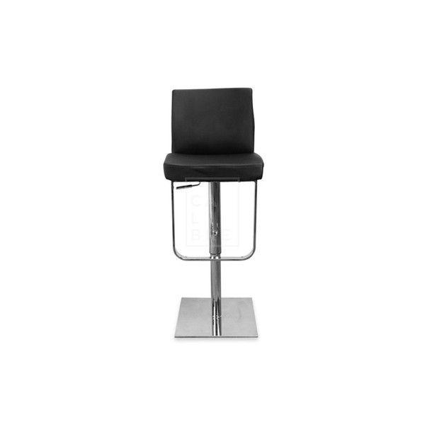 Calibre - Kumo Adjustable Height Swivel Bar Stool - Leather - Black