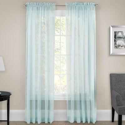 "Zipcode Design Alba Sheer Rod Pocket Curtain Panel Size: 95"" W x 118"" L , Color: Nile Blue"