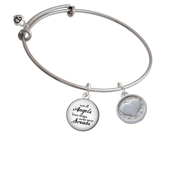 Smooth Heart - Round Seal Angels Wear Scrubs Bangle Bracelet >>> You can find more details by visiting the image link. (This is an affiliate link and I receive a commission for the sales)