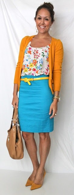 What to wear to work. - So colorful yet well put together.