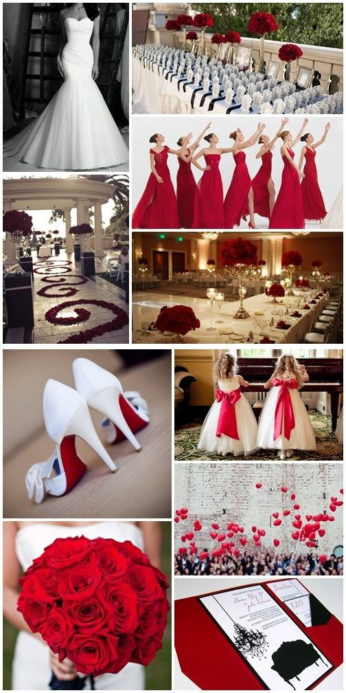 http://www.blog.cuandonaceunsueno.com/2013/02/21/bodasenblancoyrojo/ bodas en rojo, rosas rojas, centros de mesa rosas, damas de honor rojo, louboutin suela roja, loubotin boda, bouquet rosas rojas, inspiración boda blanco y rojo, boda en rojo, pétalos de rosa rojos