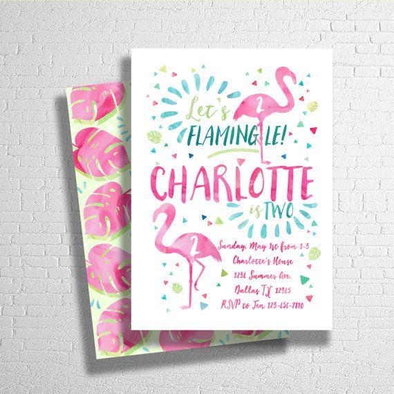 Flamingo Birthday Invitation, Tropical Birthday Invitation,  Pool Birthday Party, Beach Party, Luau Birthday Invite - Digital File JPEG