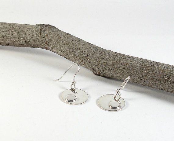 Round sterling silver dangle earrings. Handmade by RamixBijoux